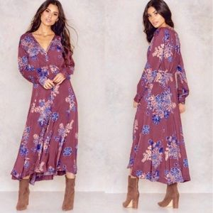 Free People Miranda Dress Plum & Blue Boho Maxi